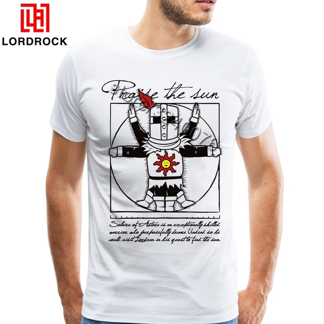ea20da90f Funny Dark Souls T Shirt Big Vintage Short Sleeves Camiseta Praise The Sun  T-shirt Knight Fashion Tees Big Size Tshirt