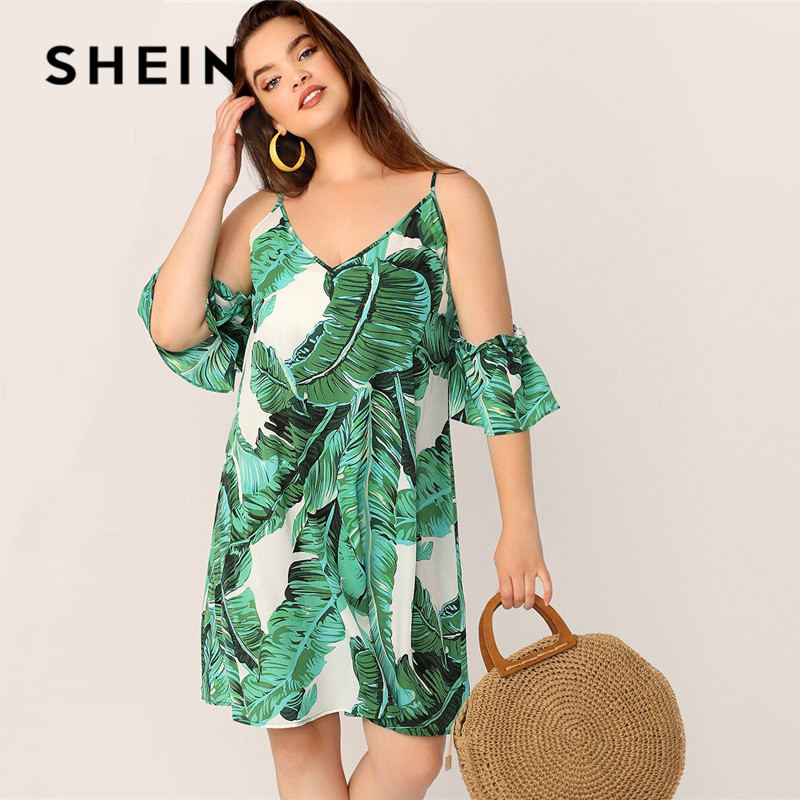 US $12.0 45% OFF|SHEIN Plus Size Green Tropical Print Cold Shoulder Tunic  Summer Dress Women Boho Beach Vacation V Neck Straight Loose Midi Dress-in  ...