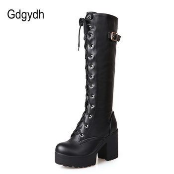 Gdgydh Hot Sale Spring Autumn Lacing Knee High Boots Women Fashion White Square Heel Woman Leather Shoes Winter PU Large Size 43 1
