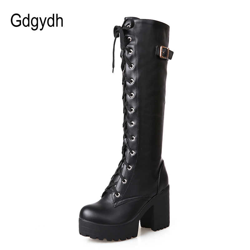 Gdgydh sıcak satış bahar sonbahar bağcık diz yüksek çizmeler kadın moda beyaz kare topuk kadın deri ayakkabı kış PU büyük boy 43
