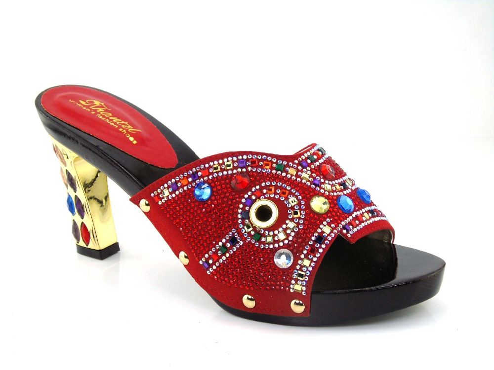 African wooden font b shoes b font 2016 Rhinestone Sandals Woman Summer Red Bottoms font b
