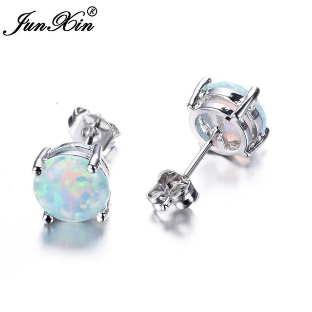 abf747767 JUNXIN Bohemia Fire Opal Earrings For Women Ladies White Blue Red Purple  Round White Gold Filled Double Side Stud Earrings