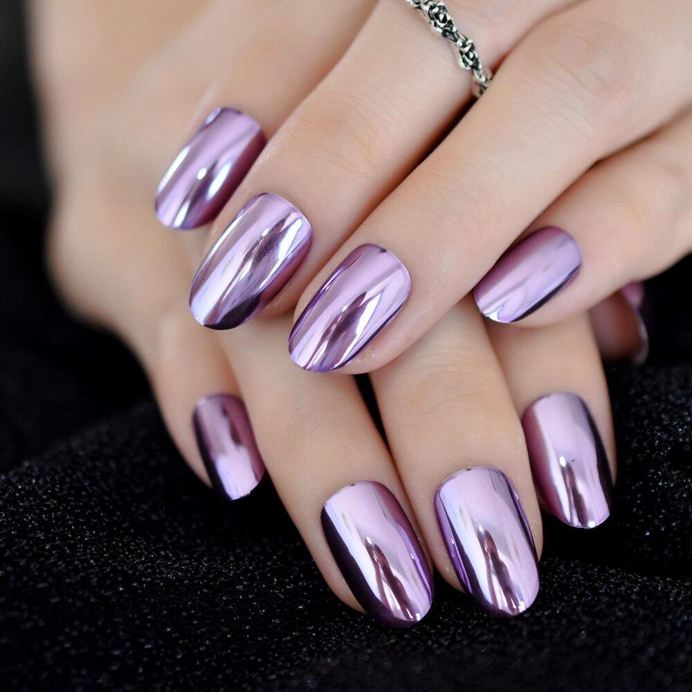 Cromado Ovalado Morado Corto Efecto Espejo Uñas Metálicas Color Violeta Damas Uñas Acrílico Artificial Uñas Puntas 24