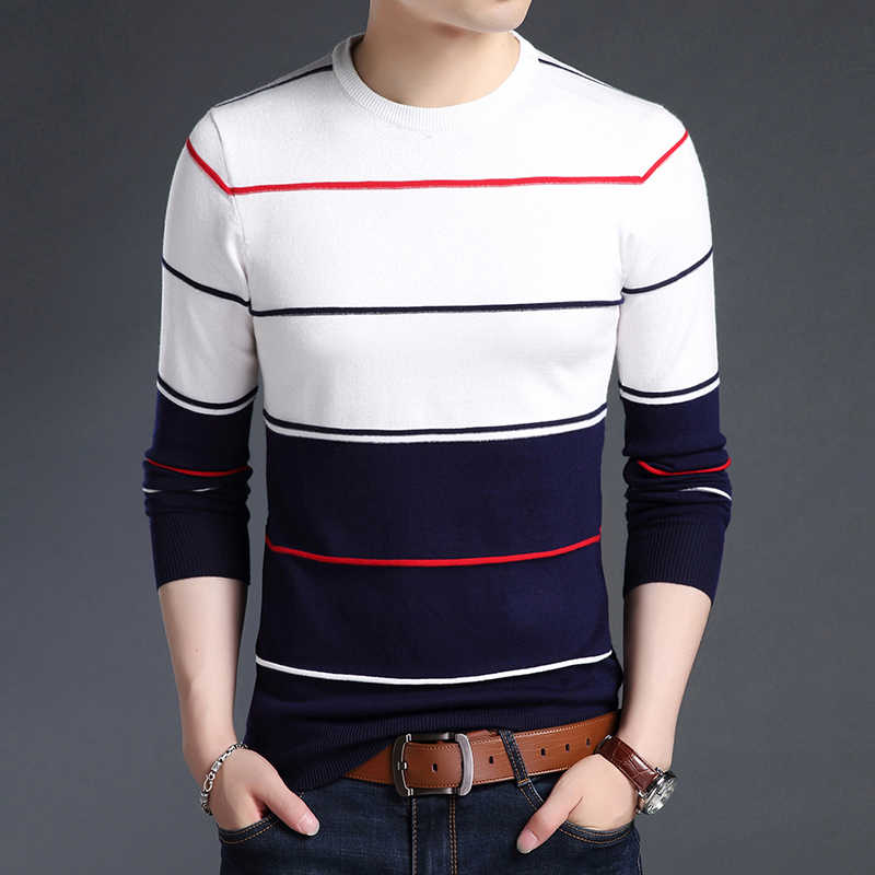 2020 새로운 패션 브랜드 스웨터 망 풀오버 스트라이프 슬림 맞는 점퍼 Knitred 모직 가을 한국 스타일 캐주얼 남성 의류