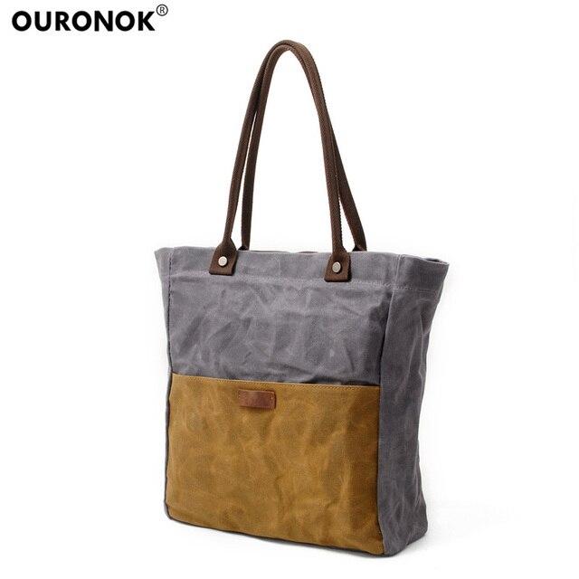 0ac072fc6751 OURONOK Vintage Bucket Crossbody Bags Simple Contrast Color Canvas Tote  Handbag Women Messenger Bag Lady Casual
