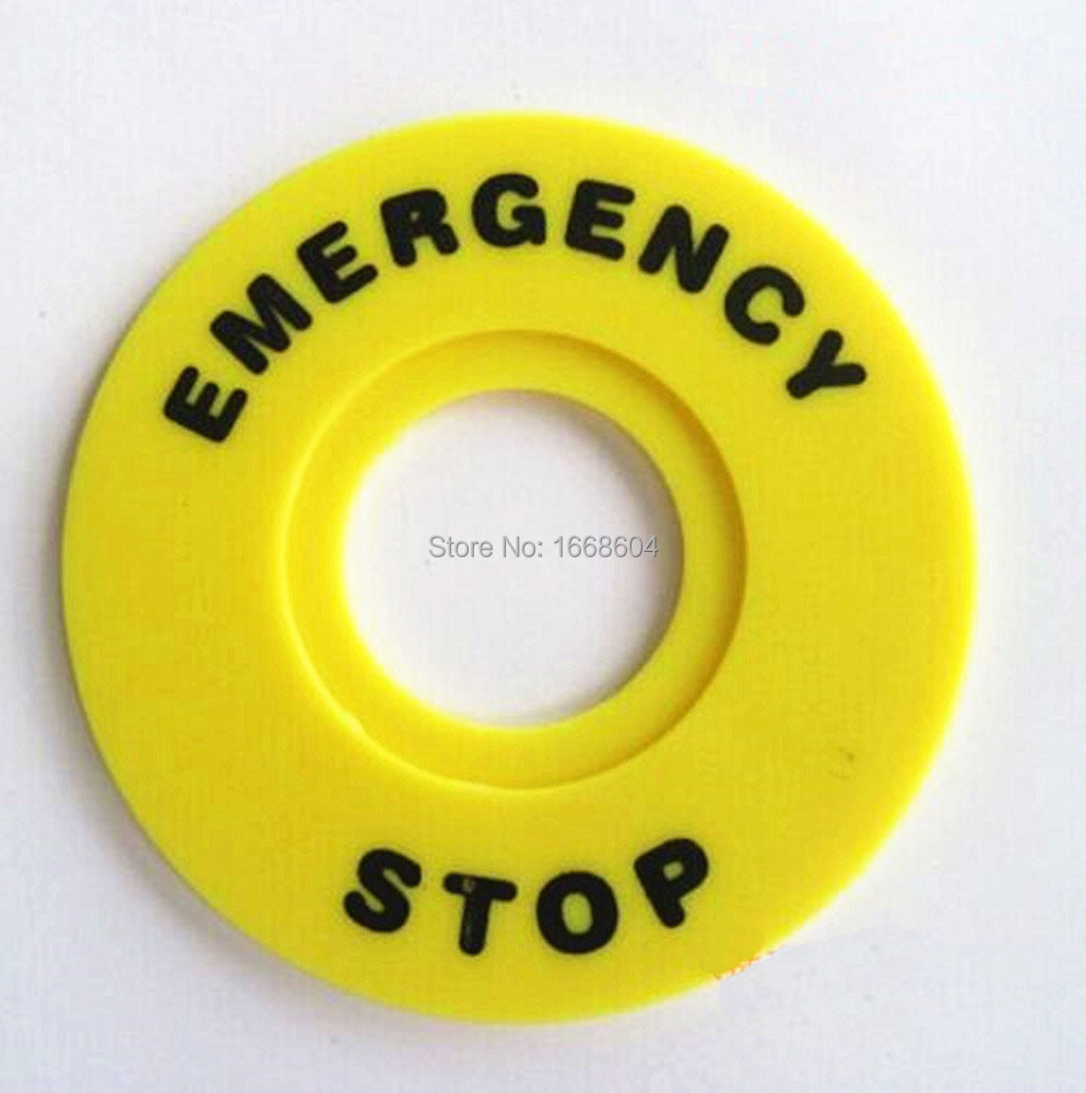 100 Pcs Yellow and Black 60mm OD 22mm ID Push Button Switch Emergency Stop Ring Free