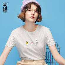 507a9c27 Toyouth Funny T-Shirts For Women Cartoon Embroidery Tshirt Summer Casual Tee  Shirt Femme Brief Short Sleeve Tops Female Tees