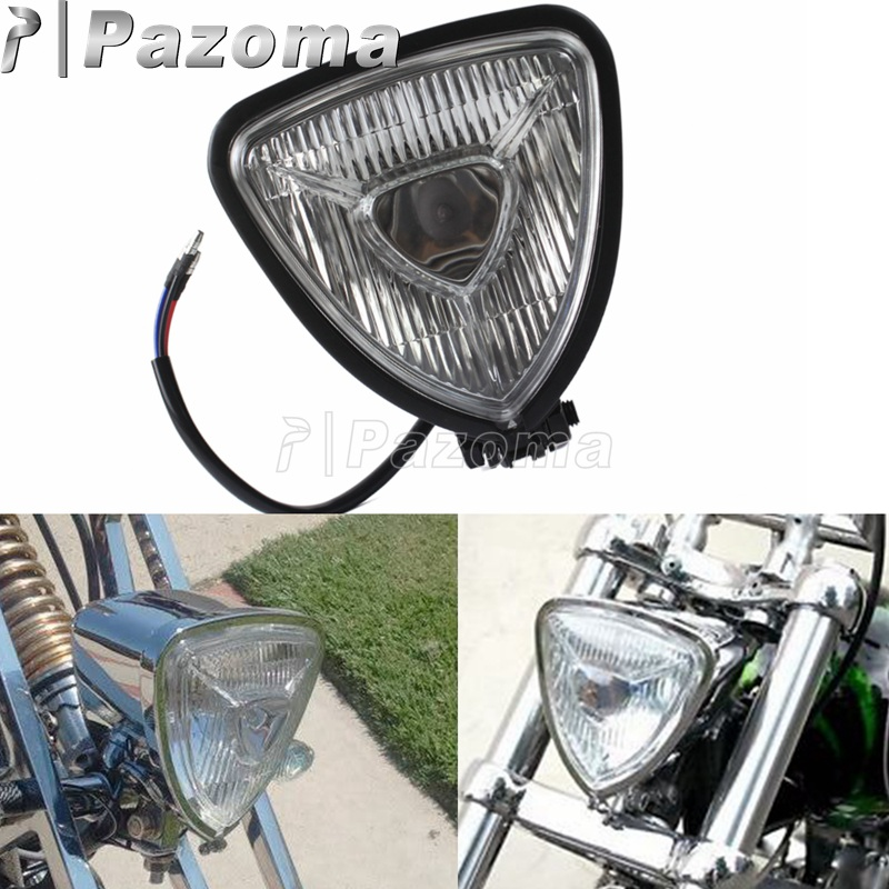 Motorcycles Black Clear Lens Triangle Headlight Headlamp Front Lights For Harley Bobber Chopper Cafe Racer Custom