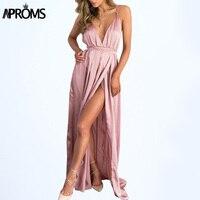Aproms Backless Hồng Trượt Satin Dài Phụ Nữ Ăn Mặc Đồ Ngủ Mùa Hè Ăn Mặc Evening Đảng Elegant Đen Maxi Dresses Sundresses