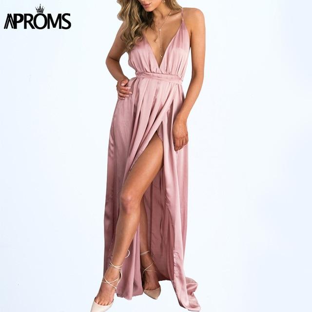 Aproms Backless Pink Slip Satin Long Dress Women Pajamas Summer