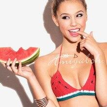 font b Women b font Summer Beach Wear Bikini Watermelon Red Knitted Bra Strap Adjustable