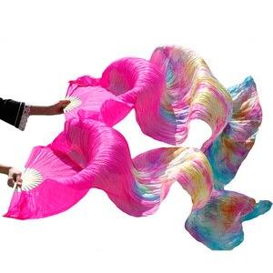 Image 4 - Женская шелковая Фата для танца живота, черная и красная Фата для выступлений, 100%