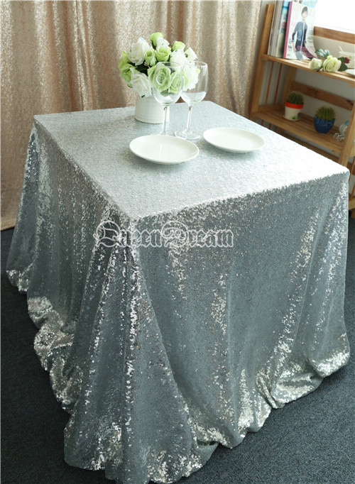 Captivating Sparkly Silver Sequin Fabric Dinner Tablecloth, Best Wedding/Home/Party  Fashion Decoration 125x125cm