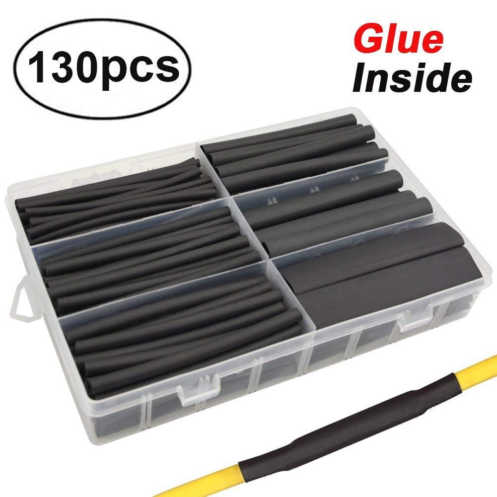 130 pièces 3: 1 double mur adhésif PVC thermorétractable kit de tubes, 6 tailles 1/2, 3/8, 1/4, 3/16, 1/8, 3/32 meilleur câble manchon Tube ensemble
