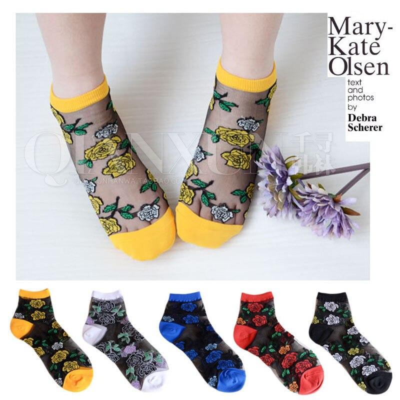 2017 new summer south korean women s fashion rose nylon tube socks meias socks