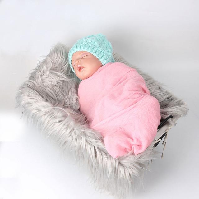 ( 180 * 100 cm ) manta de piel sintética cesta embutidora de piel de Mongolia accesorios de fotografía recién nacido apoyos de la fotografía