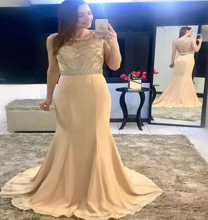 Luxury Mermaid Long   Prom     Dresses   2019 High Quality Sleeveless Red Scoop Neck Vestido De Festa Satin Open Back Beading   Prom     Dress