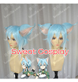 Sword Art Online Sinon Blue hair with two ears Cosplay Wig
