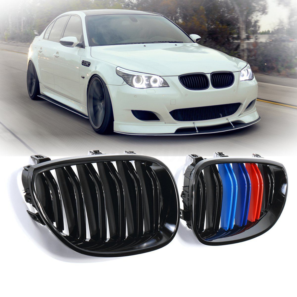 Gloss Black M-Color Front Kidney Grill Grille for 2003-2010 <font><b>BMW</b></font> <font><b>E60</b></font> E61 <font><b>5</b></font> <font><b>Series</b></font> image