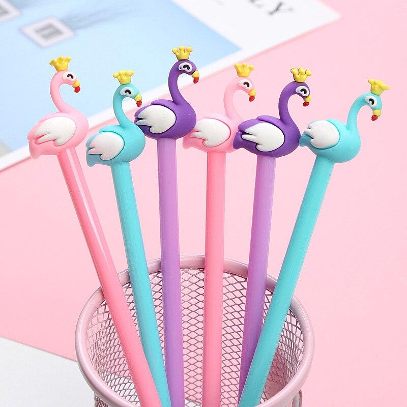 Cute Flamingo Pens Black Ink Swan Gel Pens Kawaii Neutral Pens For Kids Girls Gift School Office Supplies Novelty Stationery