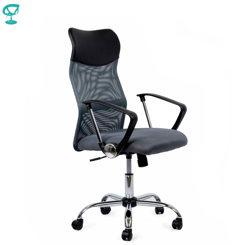 95168 Gray Office Chair Barneo K-133 Fabric And  Mesh High Back Chrome Armrests Withgas Lift Roller Free Shipping In Russia
