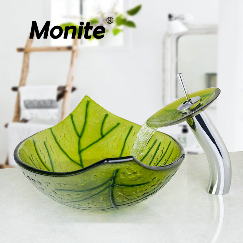 US Green Leaf Color Washbasin Tempered Glass Vessel Sink Set Brass Bathroom Sink Set With Waterfall Faucet Bathroom Faucets countertop basin sinks bathroom victory vessel washbasin tempered glass sink with chrome waterfall faucet sets