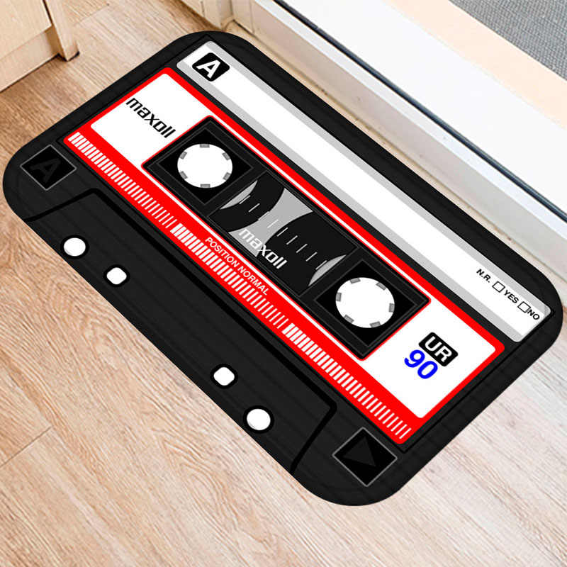 Tapete de Entrada do vintage Mix Tape Fita Magnética À Prova D' Água Anti-Slip Capacho Tapetes Quarto Tapetes Tapetes Da Escada Decorativa Home Decor