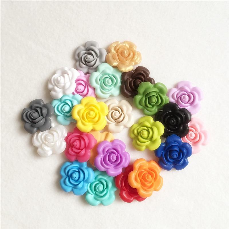 Chengkai 500pcs Bpa Free Silicone Rose Flower Pendant Teether Beads Diy Baby Pacifier Dummy Teething Nursing Charm Jewelry Toy Beads & Jewelry Making