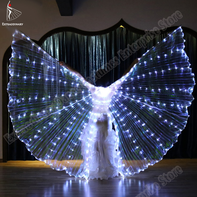 New Women Belly Dance Led Dance Wings Butterfly Wing Light Up Lamp Props Stafe Performance Accessories