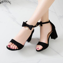 WHOSONG Women sandal 2019 new fashion High Heel Sandals Sexy open Toe buckles bowknot Footwear M72