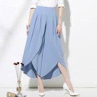 Woman Wide leg pants Casual chiffon irregular hem Culottes Loose chic Palazzo Lounge pant trousers