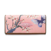 2018 Ladies Painted Butterfly Wallets Genuine Leather Evening Bag Purses Women Long Clutch Pink Wallet Purse Cell Phone Pocket