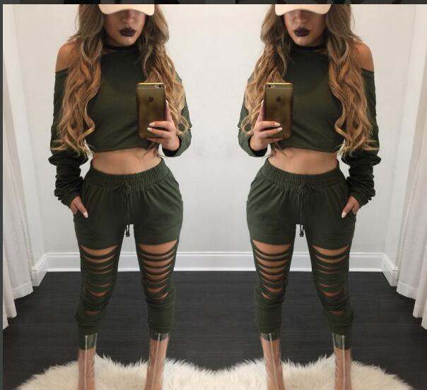 2 Piece Set Women Crop Top and Long Pant Set 2016 Hot Autumn Long Sleeve Ripped Hole Harajuku Club Party Tracksuit Set Plus Size