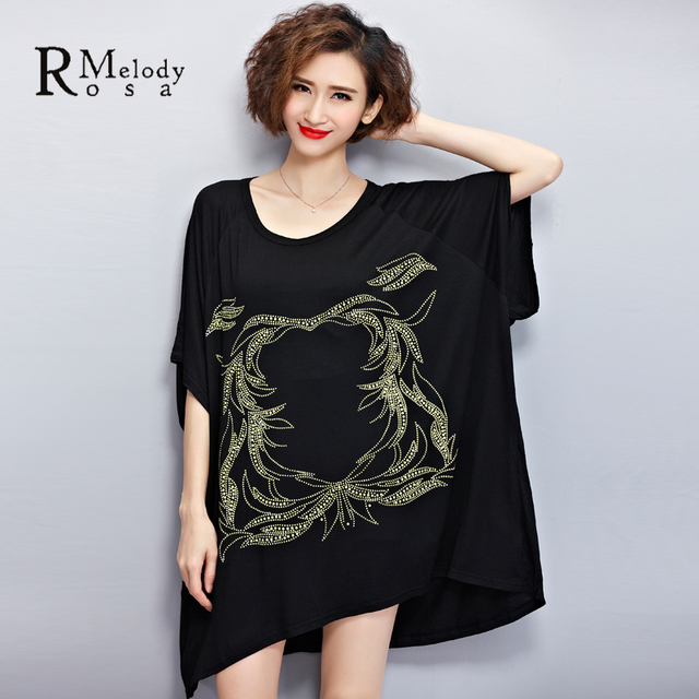 2016 New Women's Tee-shirt  European New Fashion Printing Batwing Sleeve Summer Big Women Plus Size T-Shirt(R.Melody DS0056)