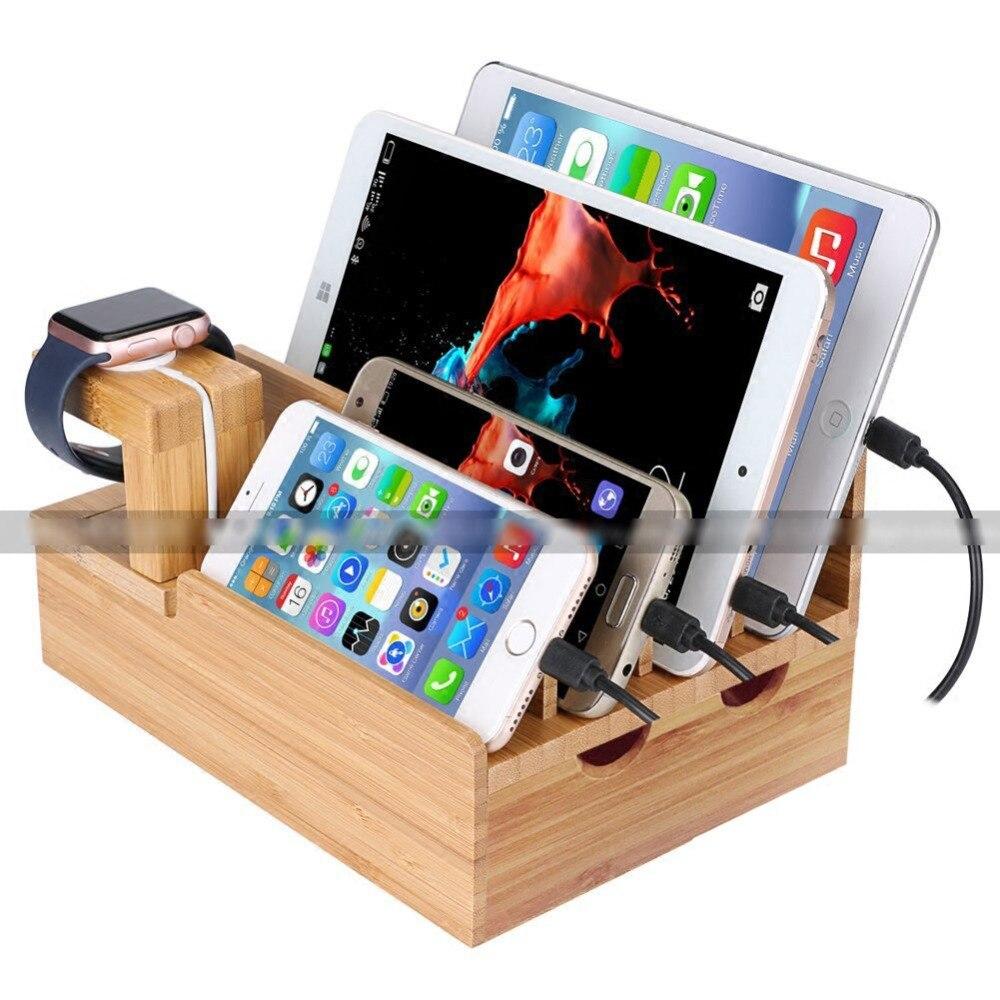 Boîte de rangement multifonctionnelle en bambou pour téléphone portable/pour iphone/ipad/tablette/support de montre USB ouvertures de chargement base en bois de bureau