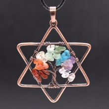 Trendy-beads Copper Plated Lucky Star Healing Chakra Pendant Rope Chain Necklace Rainbow Stone Jewelry