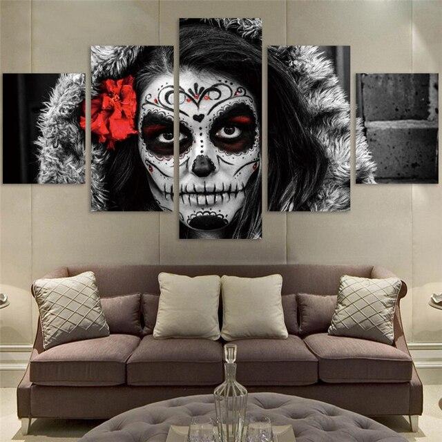 Top Selling Schädel Make Up Mädchen Leinwand Malerei Wohnzimmer Sofa  Hintergrund Kunst Poster Frau Wandbilder