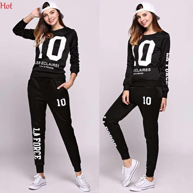 Spring Women 2Pcs Sets Hoodies Number Letters Printed Sweatshirt Sweat Pants Trousers Clothing Sets Fashion Casual Outwear Suit 1