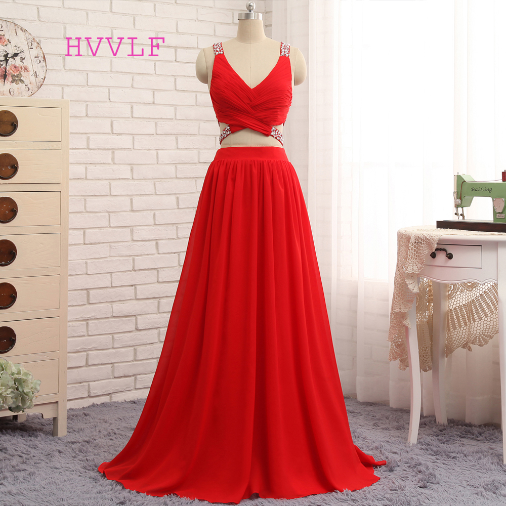 Open Back HVVLF 2019   Prom     Dresses   A-line V-neck Floor Length Chiffon Bead Two Pieces   Prom   Gown Evening   Dresses   Evening Gown