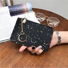 Fashion Women Wallets Sequins Coin Purse Clutch Ultra-Thin Star Zipper Black PU Leather Mini Bag 2019 New wallet