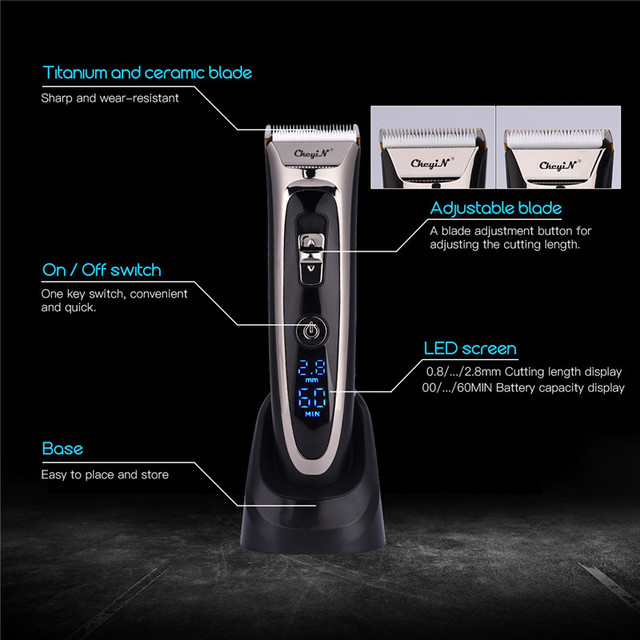 Professional Digital Hair Trimmer Rechargeable Electric Hair Clipper Men's Cordless Haircut Adjustable Ceramic Blade RFC-688B 49 4