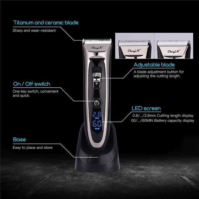 Profissional aparador de cabelo digital recarregável elétrica máquina cortar cabelo sem fio dos homens lâmina cerâmica ajustável RFC-688B 49 3