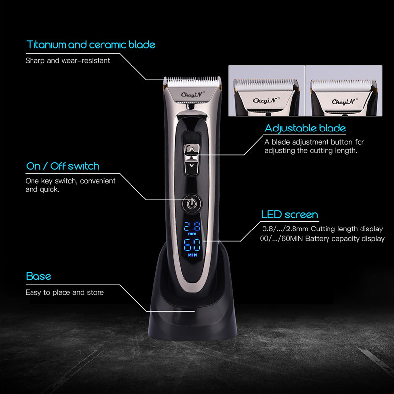 Professional Digital Hair Trimmer Rechargeable Electric Hair Clipper Men s Cordless Haircut Adjustable Ceramic Blade RFC