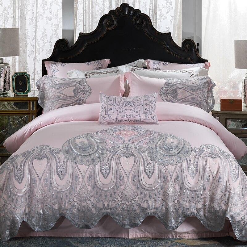 Egyptian Cotton Lace Luxury Bedding Set White Queen King Double