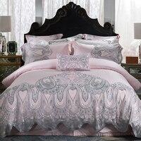 Egyptian Cotton Lace Luxury Bedding Set White Queen King Double Bed sheet set Bed set Bed Cover set juego de cama linge de lit
