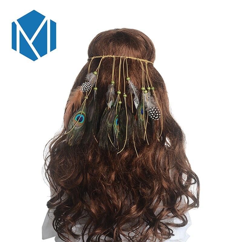 94b7ed5a87bafc M MISM Frauen Bunte Feder Boho Haarbänder Hippie Festival Gypsy Tribe Perlen  Stirnband Böhmischen Pfau Retro Haarschmuck
