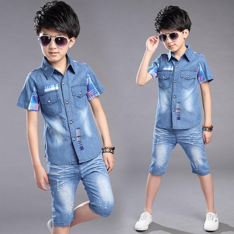 цена  Big Teens virgin boys summer clothing denim jeans shirt and shorts two pieces sets set for boys 6 8 10 11 12 13 14 15 years old  онлайн в 2017 году