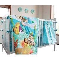4Pcs Cotton Baby Bedding Set fish Pattern Baby Bed Linen For Newborns Baby Sheet comforter,crib sheet,crib skirt,crib bumper