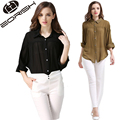 European Style 2017 Spring Chiffon Blouses Batwing Sleeve Women's shirt Loose Fitting Blusas Female Plus Size Black Army Green