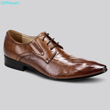 QYFCIOUFU Designer Formal Men Pointed Toe Dress Shoe Genuine Leather Black Khaki Brown Alligator Pattern Italian Oxford Shoe